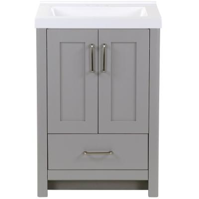 Westcourt 25 in. W x 22 in. D Bath Vanity in Sterling Gray with Cultured Marble Vanity Top in White with White Sink