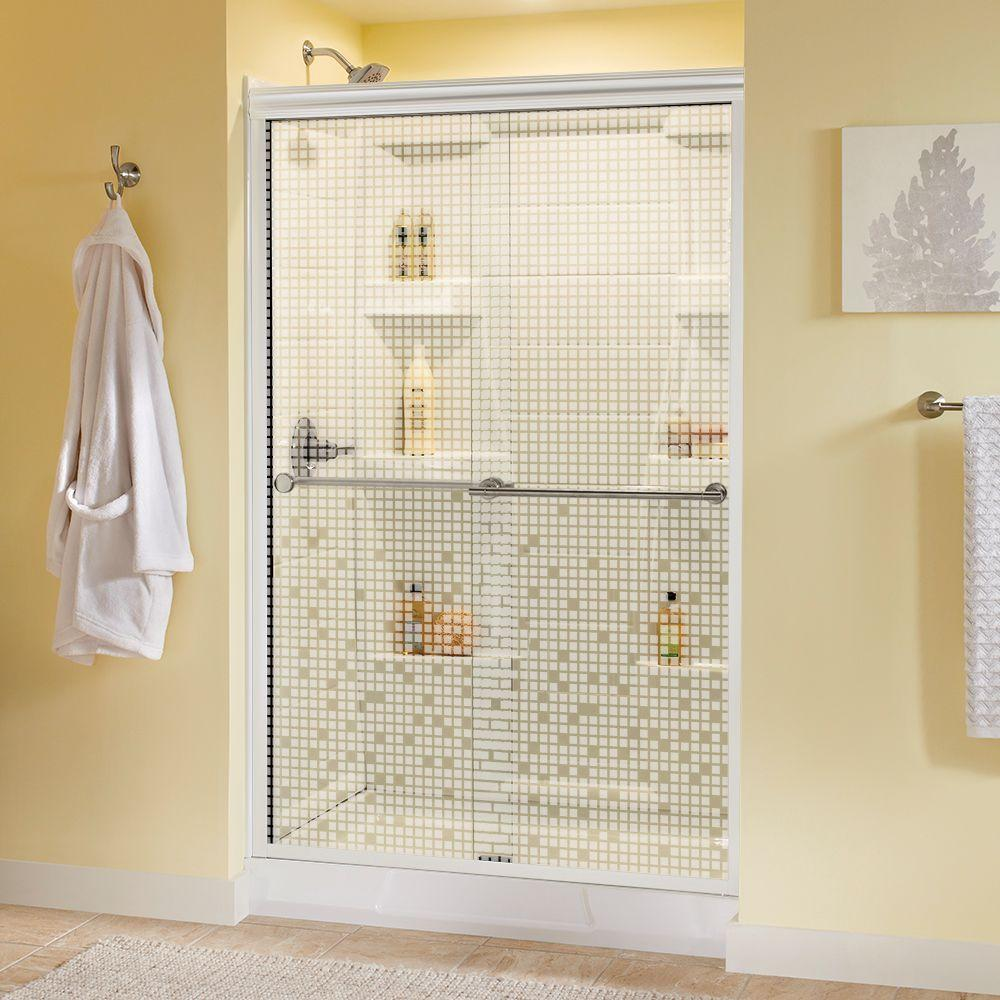 Delta Lyndall 48 in. x 70 in. Semi-Frameless Sliding Shower Door in White with Nickel Handle and Mozaic Glass