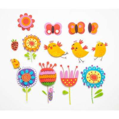 11.8 in. x 11.8 in. Birds and Flowers 3D Wall Decal
