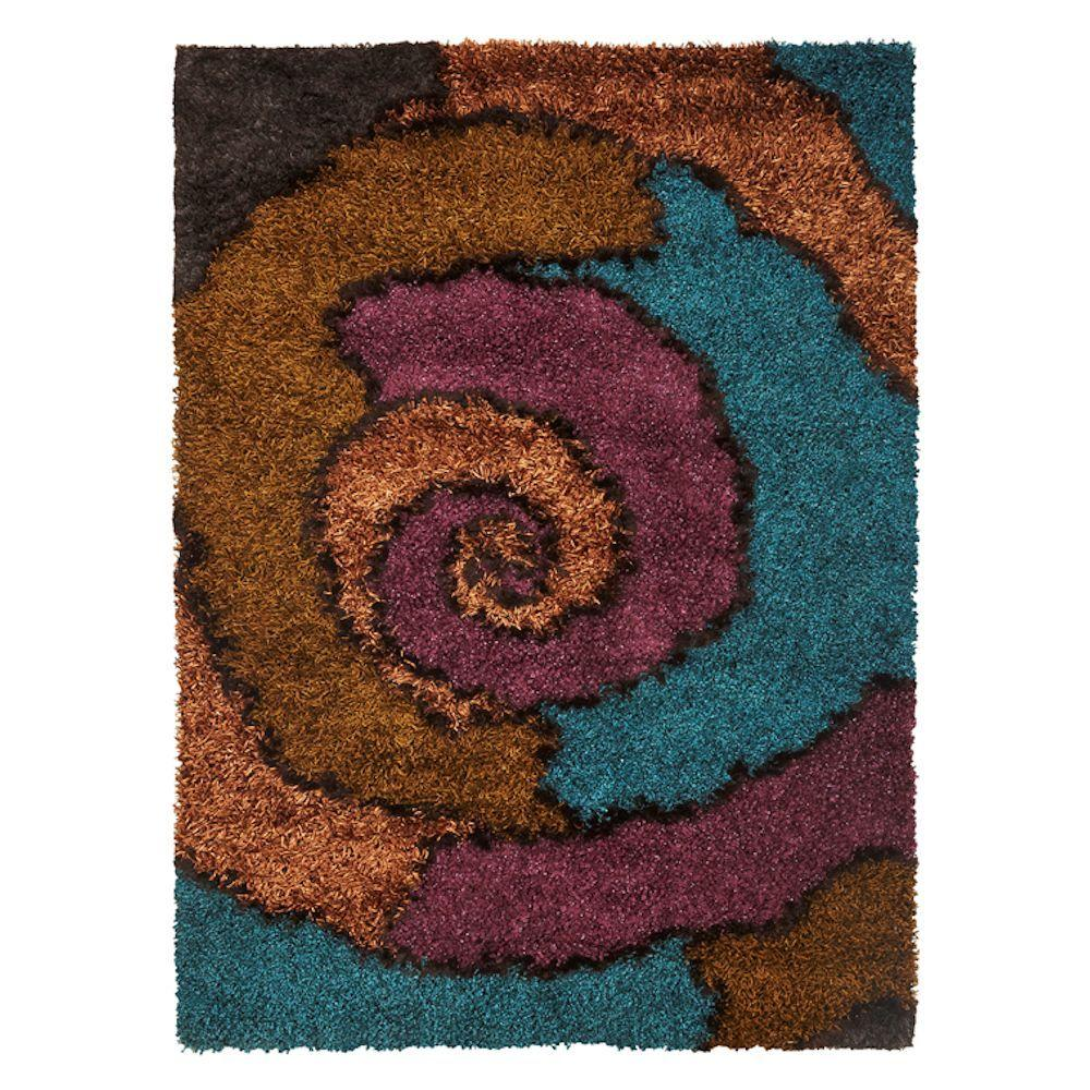 Kas Rugs Shag Finesse 6 Red/Blue 7 ft. 6 in. x 9 ft. 6 in. Area Rug