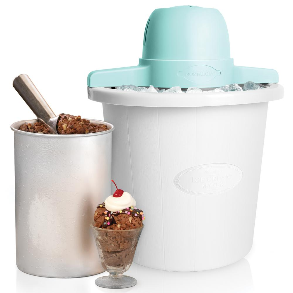4 Qt. Electric Ice Cream Maker, White The fast and easy way to make 4-quarts of ice cream, frozen yogurt, or gelato. This unit features a locking motor mount, easy-to-clean plastic bucket and 4-quart aluminum canister. Simply add your ingredients into the aluminum canister, place in the middle of the bucket, layer with ice and salt, and let the electric motor do the rest. Soon you will have wonderful homemade ice cream. Customize each recipe by adding extras, like strawberry preserves, cookie dough, candy pieces and more. When done, use the included lid and lid cap to store leftover ice cream in the freezer. Color: White.