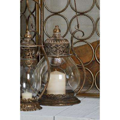 Tarnished Brass Candle Lantern with Handle