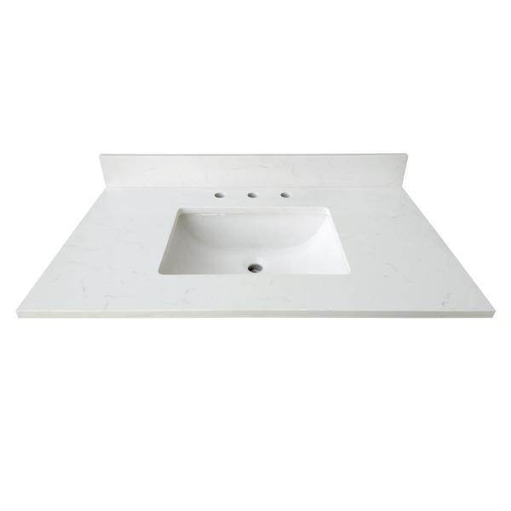 43 in. W x 22 in. D x 0.75 in. H Quartz Vanity Top in Carrara White with White Basin