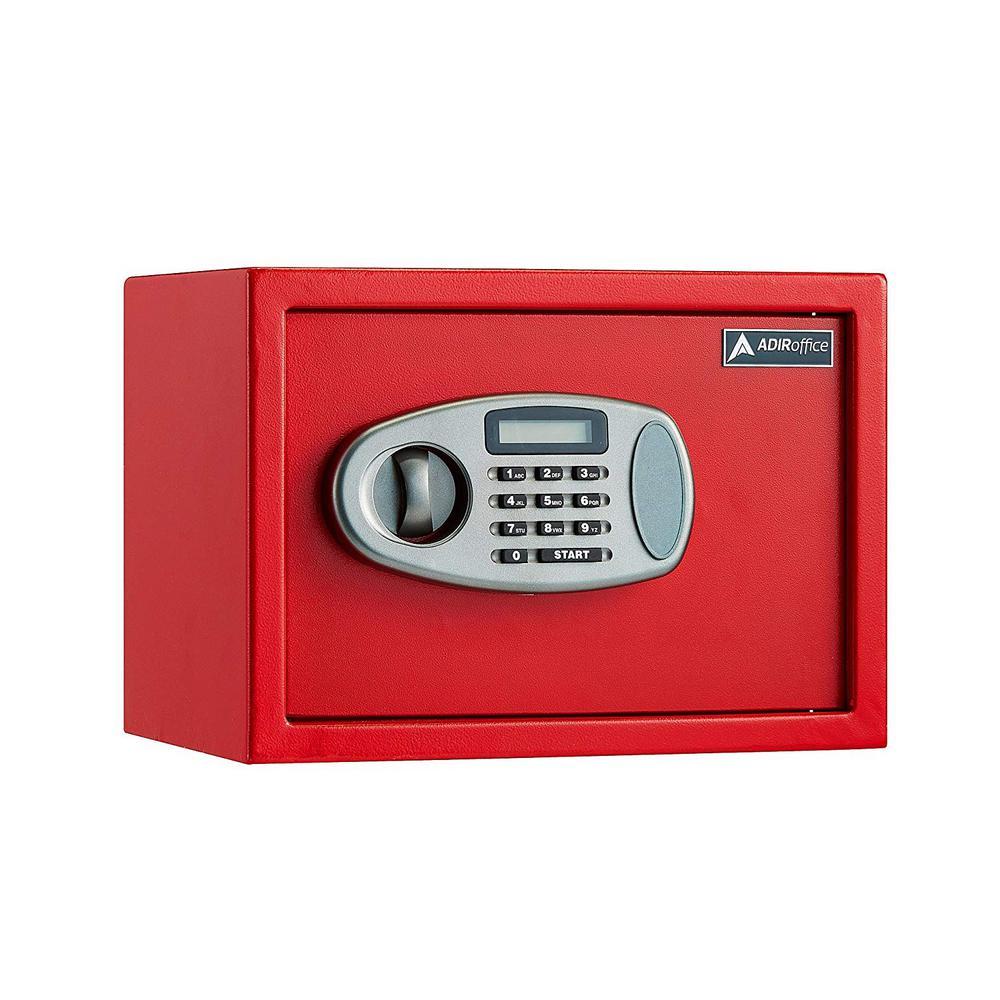 0.5 cu. ft. Steel Security Safe with Digital Lock, Red