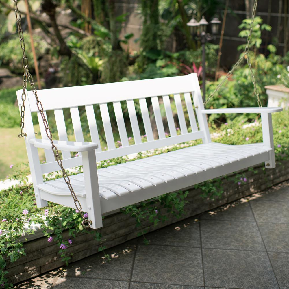 Thames White Wood Porch Swing