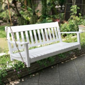 Cambridge Casual Thames White Wood Porch Swing Hd 130228