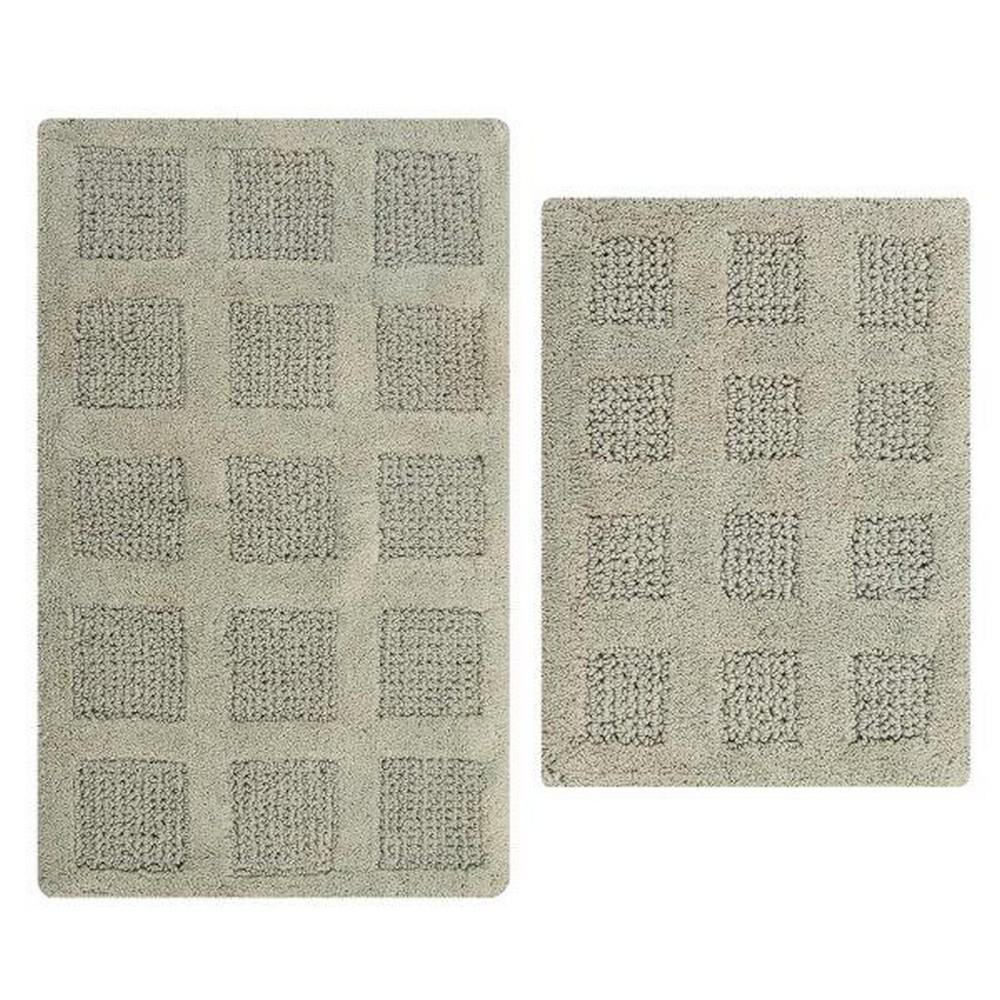 17 In. X 24 In. And 21 In. X 34 In. Light Sage Square Honey Comb Reversible Bath Rug Set (2 Piece)
