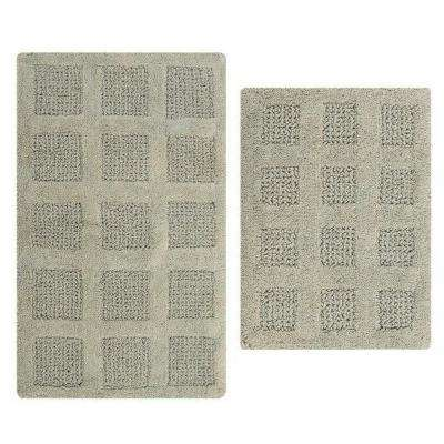 17 in. x 24 in. and 21 in. x 34 in. Light Sage Square Honey Comb Reversible Bath Rug Set (2-Piece)