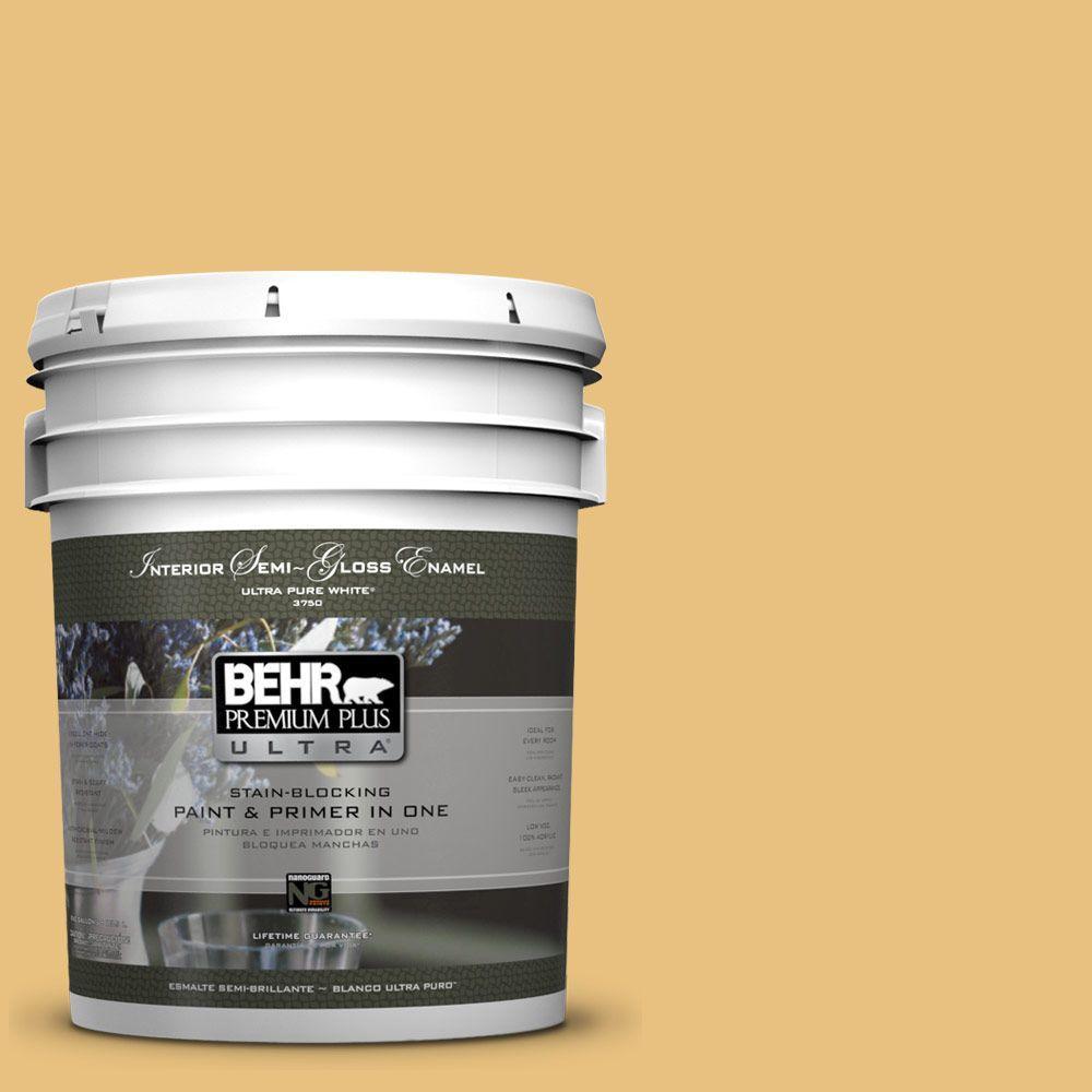 5 gal. #340D-4 Honey Bear Semi-Gloss Enamel Interior Paint and Primer