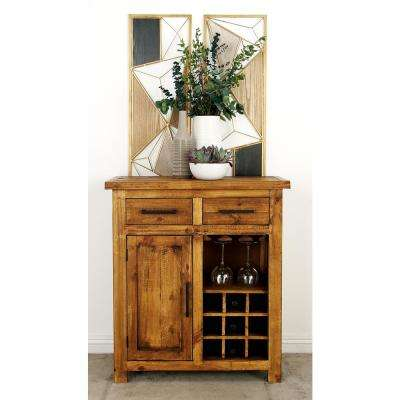 9-Bottle Natural Brown Wooden Wine Cabinet with Stemware Rack