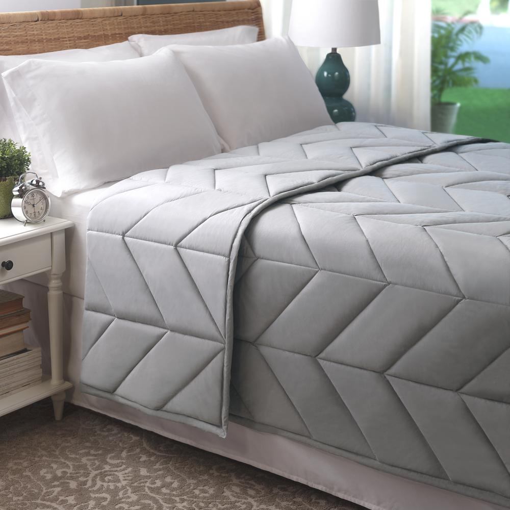 Soft Gray Cotton Chevron Quilted King Blanket Bl001372k Sgray The