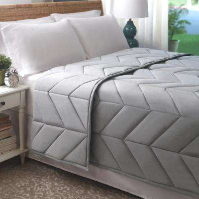Soft Gray Cotton Chevron Quilted King Blanket