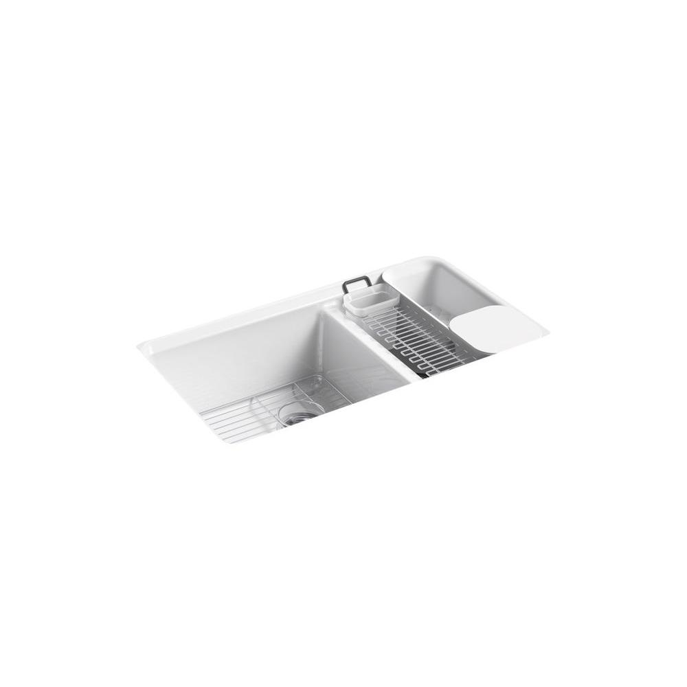 kohler double kitchen sink kohler riverby undermount cast iron 33 in 5 6682