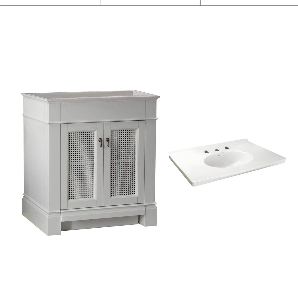 American Standard Portsmouth 30 in. Bath Vanity in White with Fireclay Vanity Top in White with White Basin