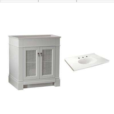 Portsmouth 30 in. Bath Vanity in White with Fireclay Vanity Top in White with White Basin