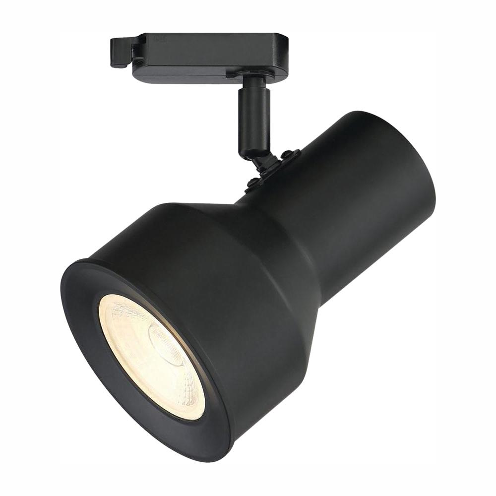 Envirolite Large Solid Black Step Cylinder Integrated Led Track Lighting Head