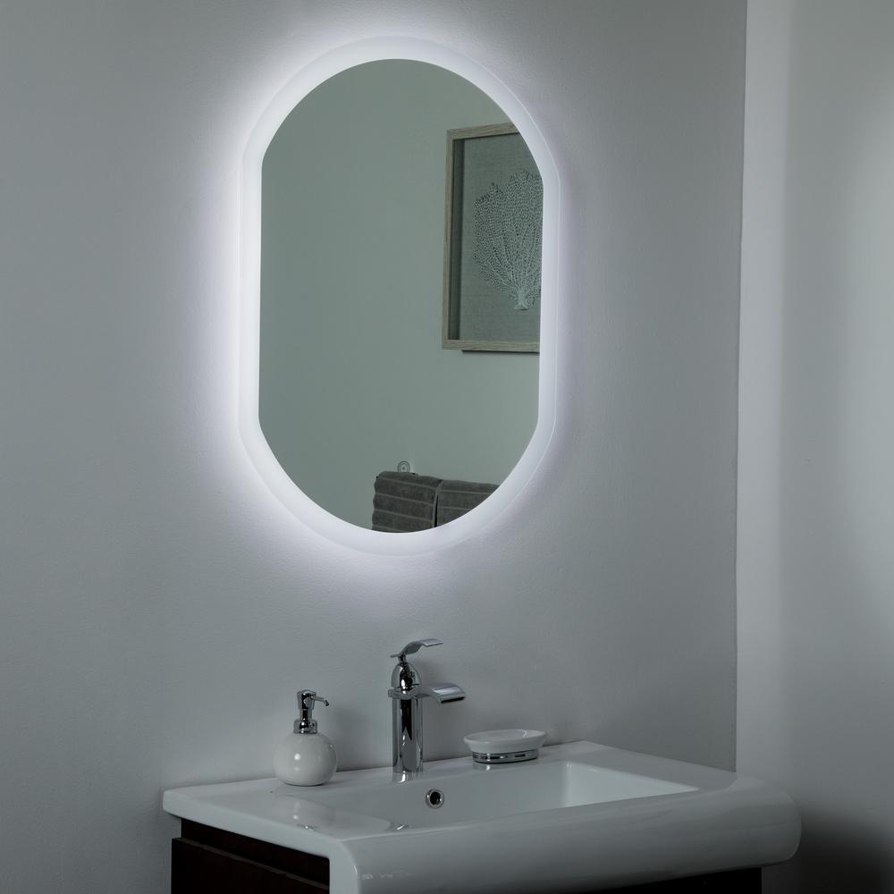 Oval Frameless Led Light Bathroom Mirrors Bath The Home Depot