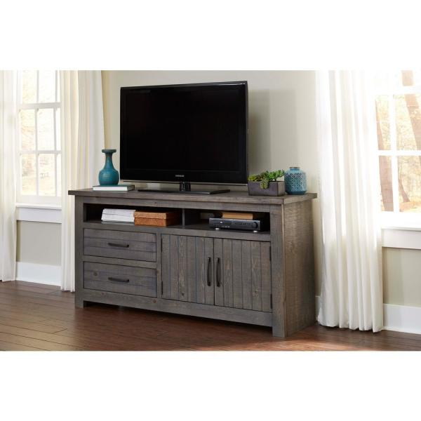 Nest 64 in. Distressed Dark Gray Entertainment Console