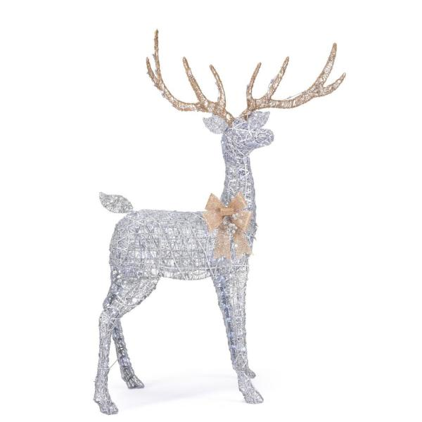 65 in Cool White 200-Light LED Silver Deer with Gold Bow
