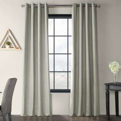 Shark Grey Solid Country Cotton Linen Weave Grommet Curtain - 50 in. W x 96 in. L