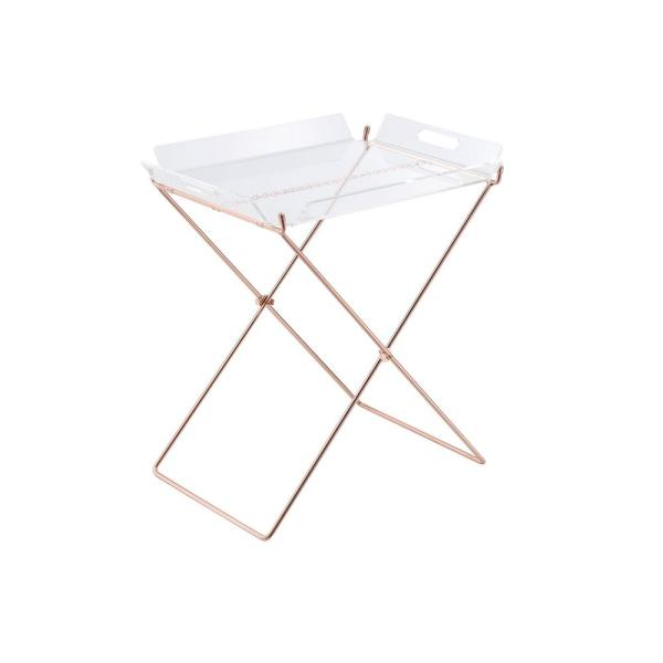 Acme Furniture Cercie Tray Table In Clear Acrylic And Copper 98189
