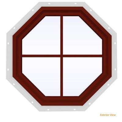 23.5 in. x 23.5 in. V-4500 Series Red Painted Vinyl Fixed Octagon Geometric Window with Colonial Grids/Grilles