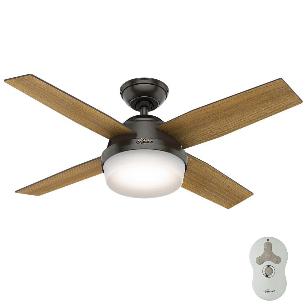 Dempsey 44 in. LED Noble Bronze Ceiling Fan with Universal Remote