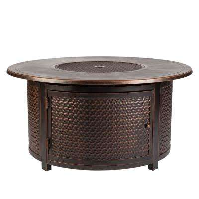 Leeward 47 in. x 24 in. Round Aluminum Propane Fire Pit Table in Antique Bronze with Vinyl Cover