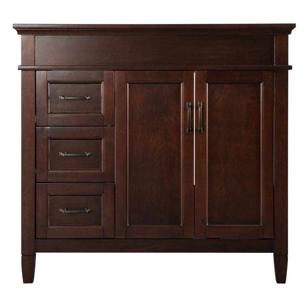 Foremost ashburn 36 in w bath vanity cabinet only in for Bath vanities with tops