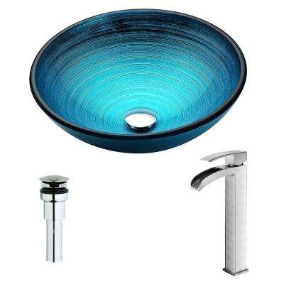 Enti Series Deco-Glass Vessel Sink in Lustrous Blue with Key Faucet in Brushed Nickel