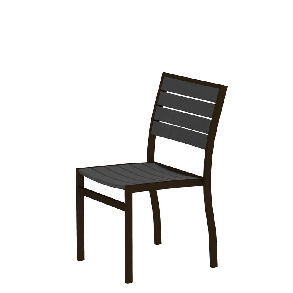 POLYWOOD Euro Textured Bronze Plastic Outdoor Patio Dining Side Chair with Slate Grey Slats