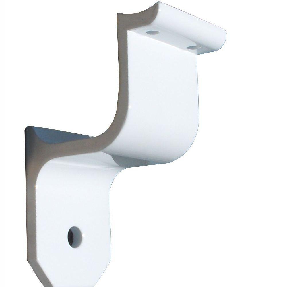 1.9 in. Aluminum Round ADA Handrail White Wall Bracket