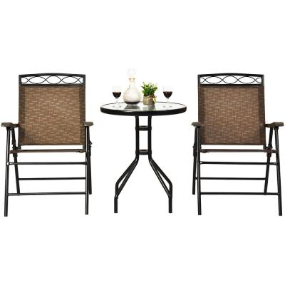 Black 3-Piece Metal Round Outdoor Bistro Set Patio Pub Dining Set with 2 Folding Chairs & Glass Table