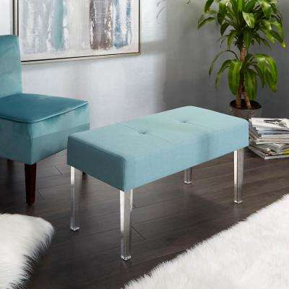 Claire Capri Blue Acrylic Leg Rectangular Bench