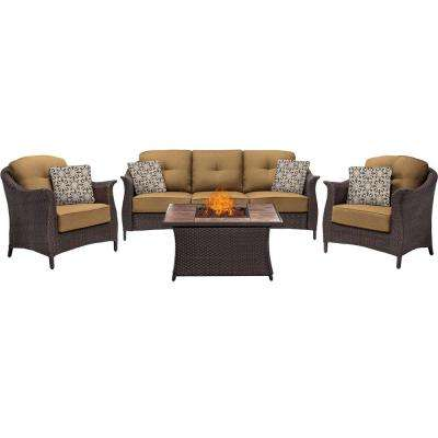 Gramercy 4-Piece Woven Patio Seating Set with Tile-Top Fire Pit and Premium Sunbrella Country Cork Cushions