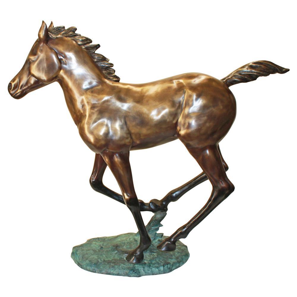 Design Toscano 41 In H Galloping Horse Foal Cast Bronze Garden Statue Pb1165 The Home Depot