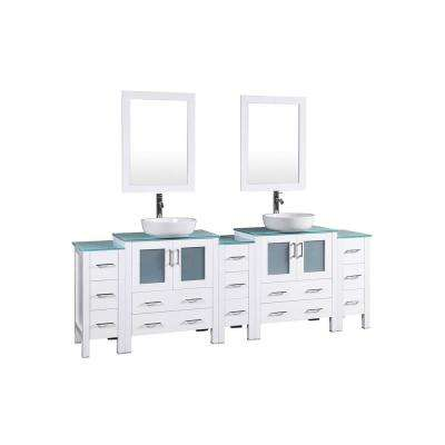 96 in. W Double Bath Vanity in White with Tempered Glass Vanity Top with White Basin and Mirror