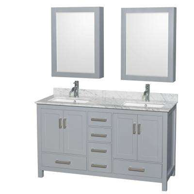 Sheffield 60 in. W x 22 in. D Vanity in Gray with Marble Vanity Top in Carrara White with White Basins and Mirrors