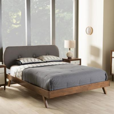 Penelope Mid-Century Gray Fabric Upholstered Full Size Bed