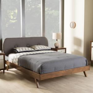 Penelope Mid-Century Gray Fabric Upholstered King Size Bed