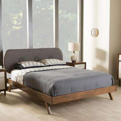 Penelope Mid-Century Gray Fabric Upholstered Queen Size Bed