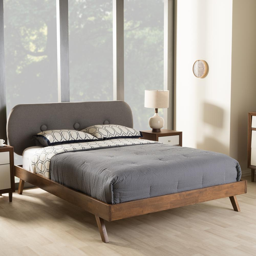283 Best Images About Fabric Bed Headboards On Pinterest: Baxton Studio Penelope Mid-Century Gray Fabric Upholstered
