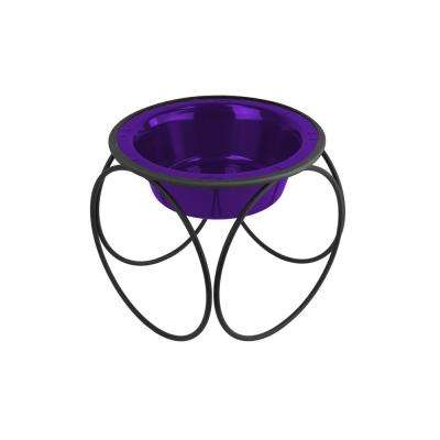 1.25 Cup Olympic Single Diner Feeder with Dog/Cat Bowl, Electric Purple