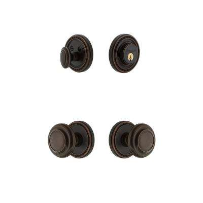 Soleil Plate 2-3/4 in. Backset Timeless Bronze Circulaire Door Knob with Single Cylinder Deadbolt