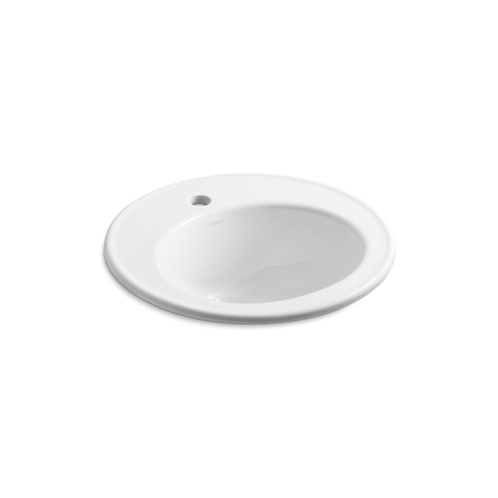 Brookline Drop-In Vitreous China Bathroom Sink in White with Overflow Drain