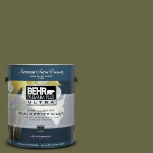 1 gal. #UL200-22 Amazon Jungle Satin Enamel Interior Paint and Primer in One