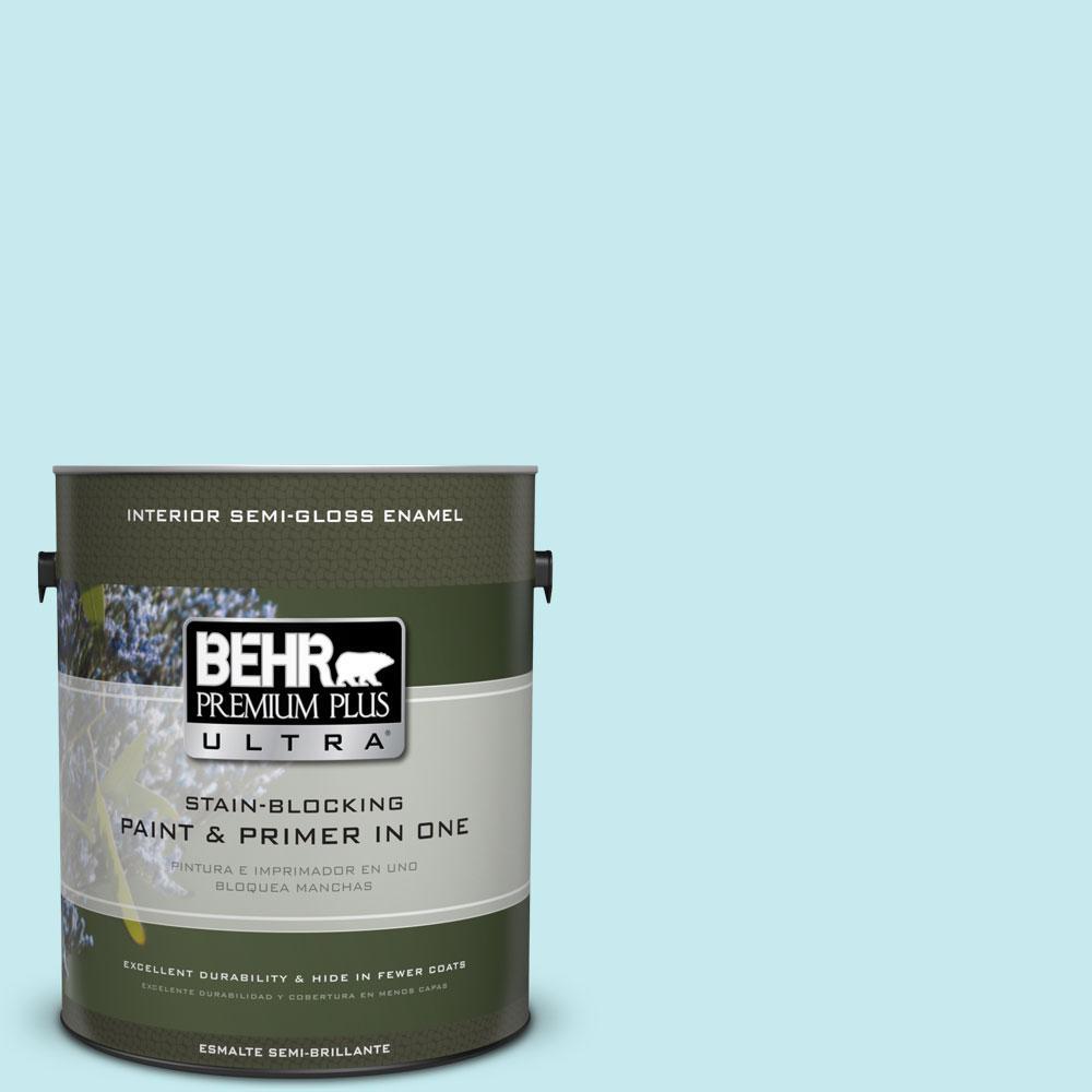 BEHR Premium Plus Ultra 1-gal. #P470-1 Silent Breeze Semi-Gloss Enamel Interior Paint