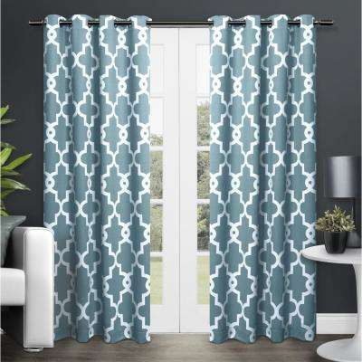 Ironwork Teal Sateen Woven Blackout Grommet Top Window Curtain