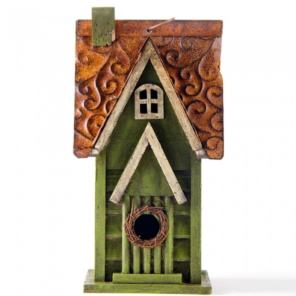 11.93 in. H Distressed Solid Wood Garden Birdhouse