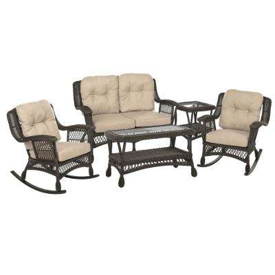 Cappuccino Collection 5-Piece Wicker Patio Rocking Chair Conversation Set with Beige/Tan Cushions